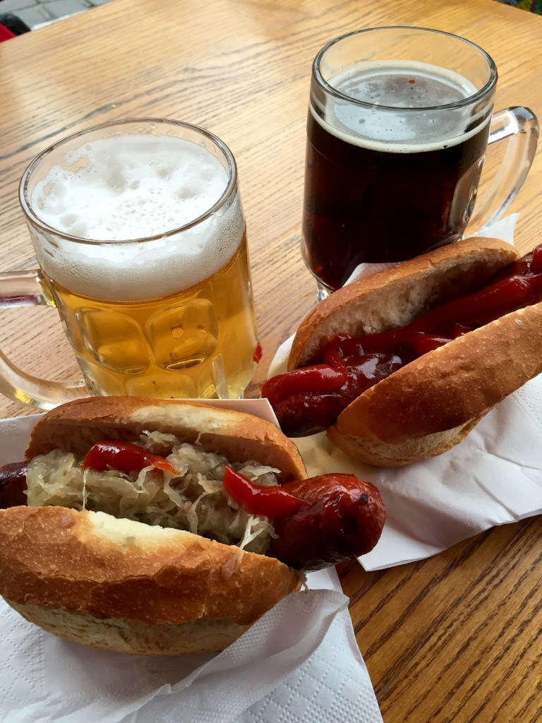 Our hotdogs and beer.