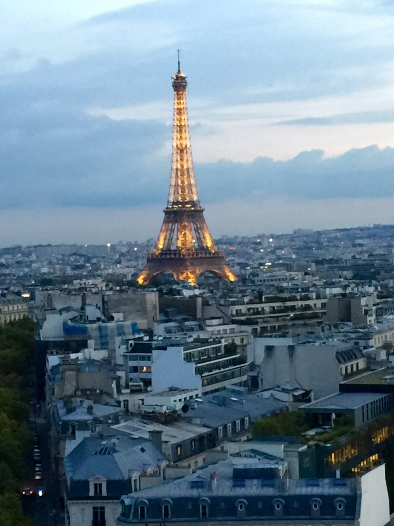 View of the Eiffel Tower from the top of the Arc de Triomphe monument.