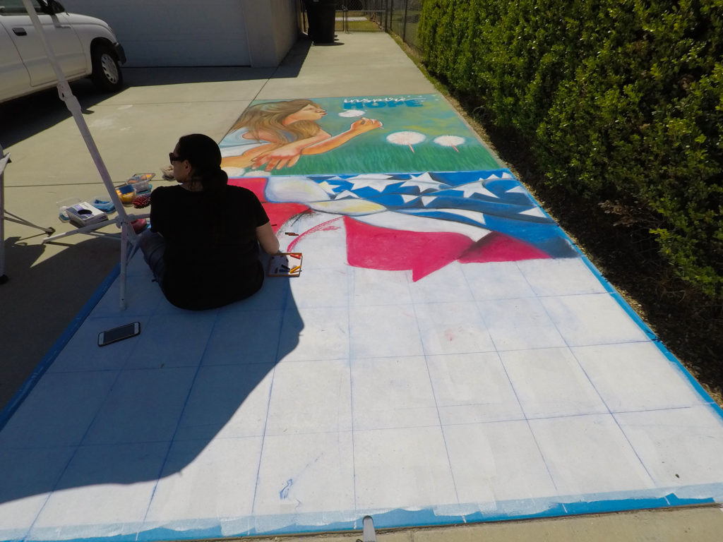 Starting to chalk the US flag