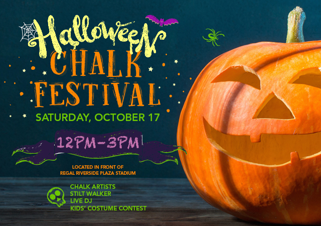Halloween Chalk Festival at Riverside Plaza, Oct 17 2020.