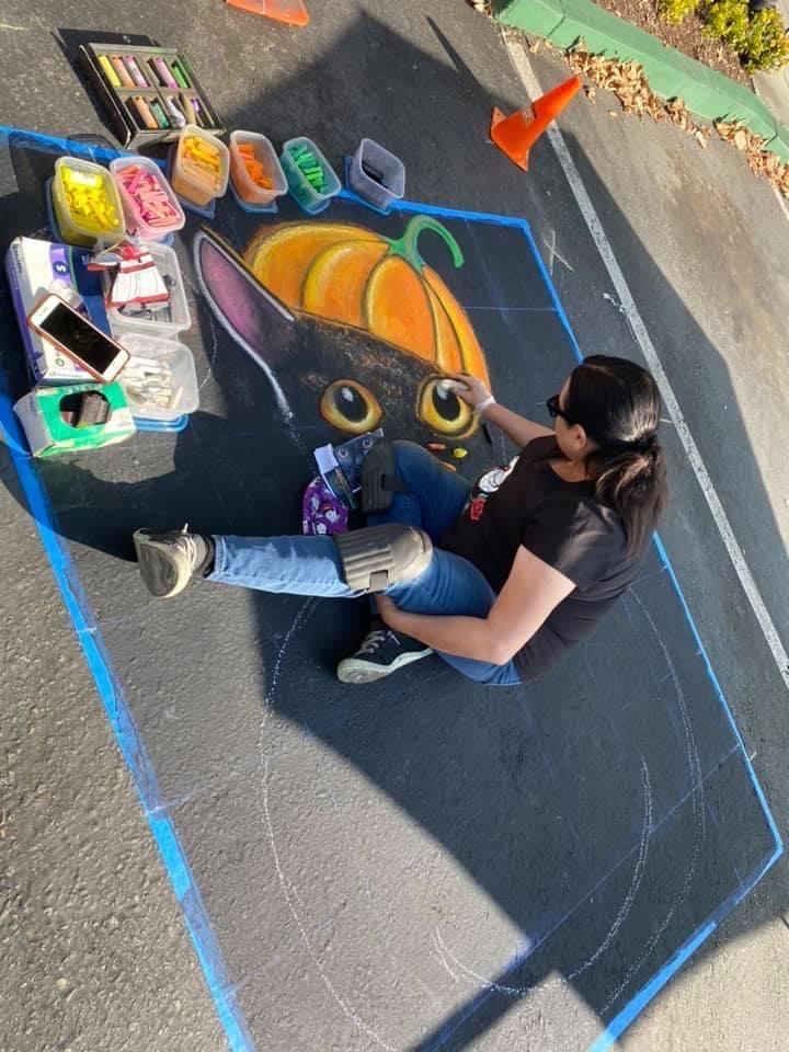 Halloween Chalk Square