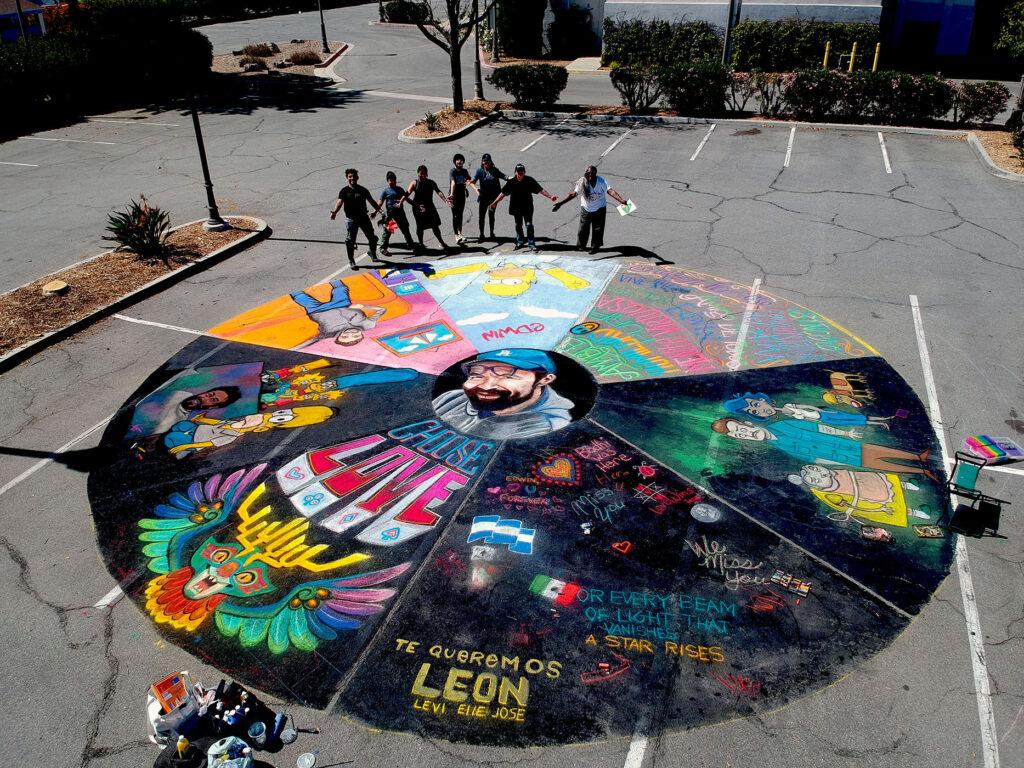 Memorial Chalk Collaboration for Artist Edwin Aguilar