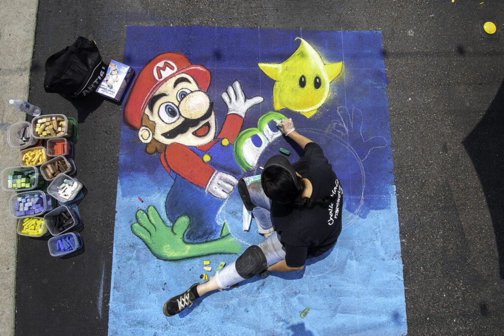 Mario Galaxy chalk art